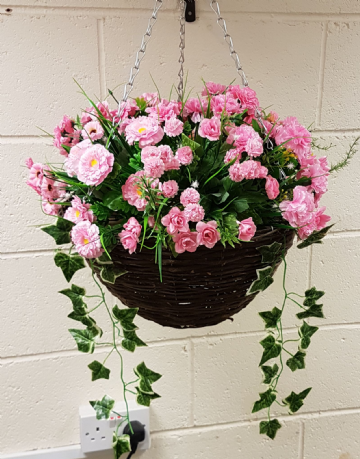 Round Wicker Artificial Flower Hanging Basket  - All Pink